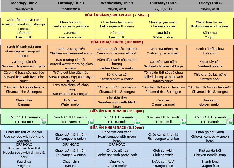 Thực đơn nhà trẻ trường Hanoi Academy Thực đơn tuần 04 (26/08 – 30/08)