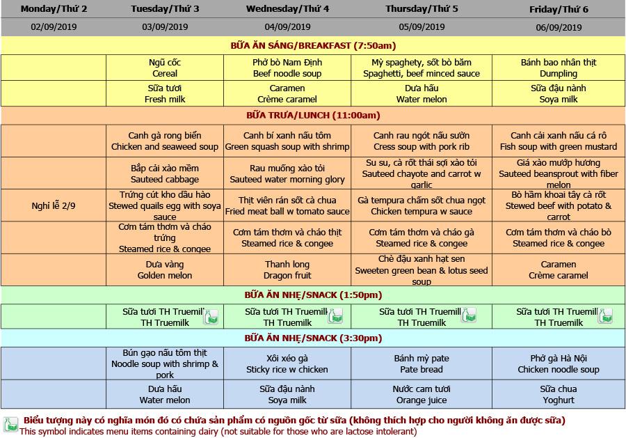 Thực đơn tuần 05 (02/09 – 06/09)