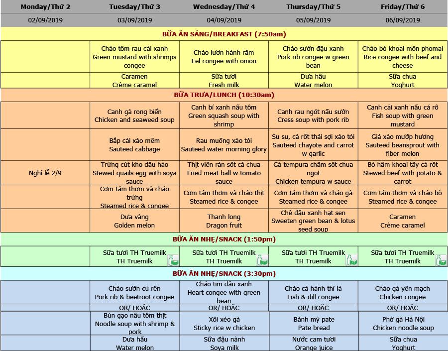 Thực đơn nhà trẻ trường Hanoi Academy Thực đơn tuần 05 (02/09 – 06/09)