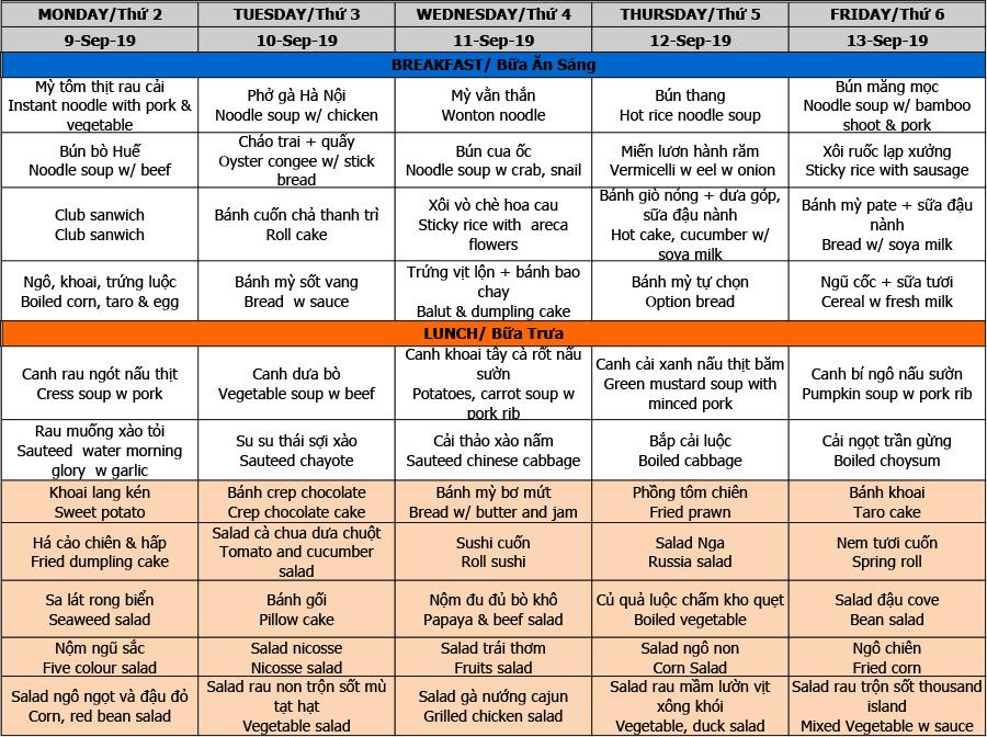 Thực đơn tuần 06 (09/09 – 13/09)