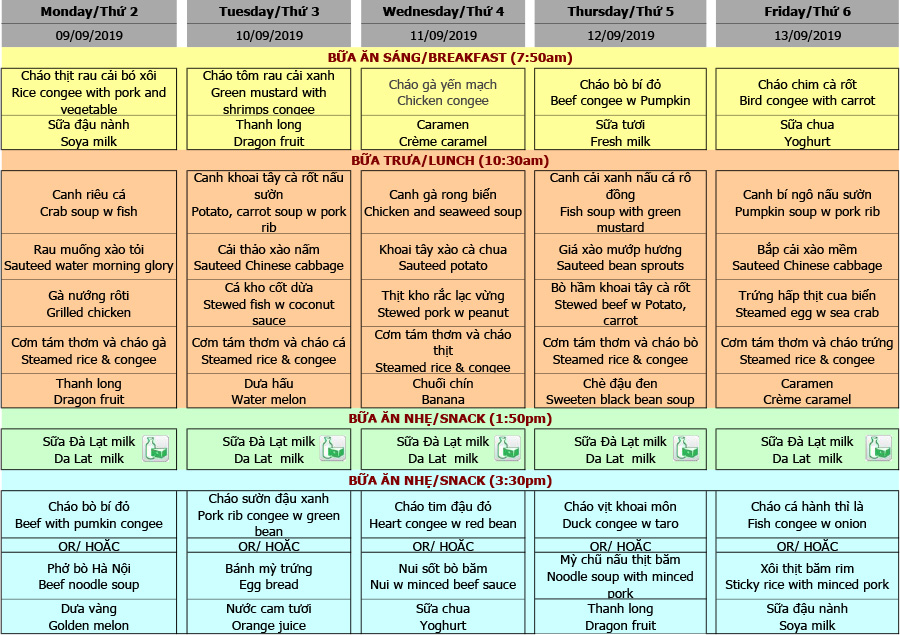Thực đơn nhà trẻ Hanoi Academy Thực đơn tuần 06 (09/09 – 13/09)