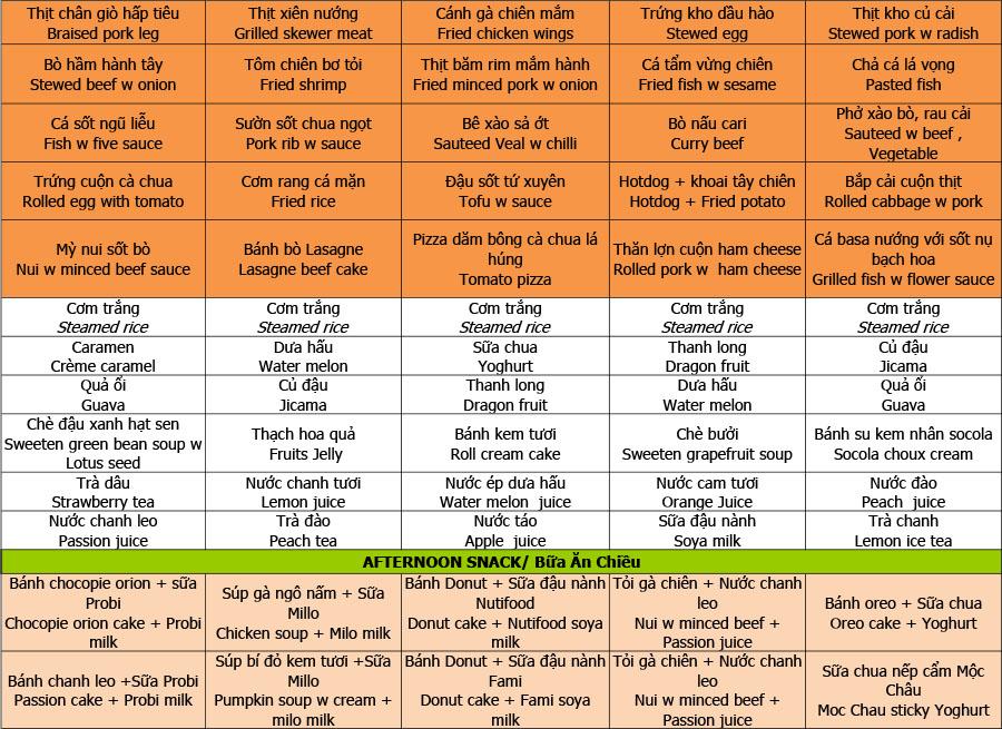 Thực đơn tuần 07 (16/09 – 20/09)