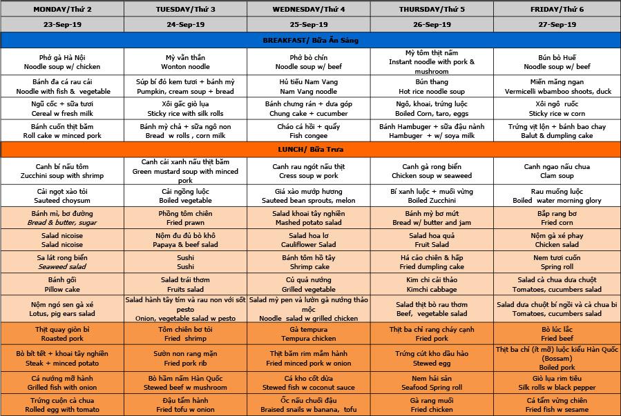 Thực đơn cấp 1-2-3 trường Hanoi Academy Thực đơn tuần 08 (23/09 – 27/09)