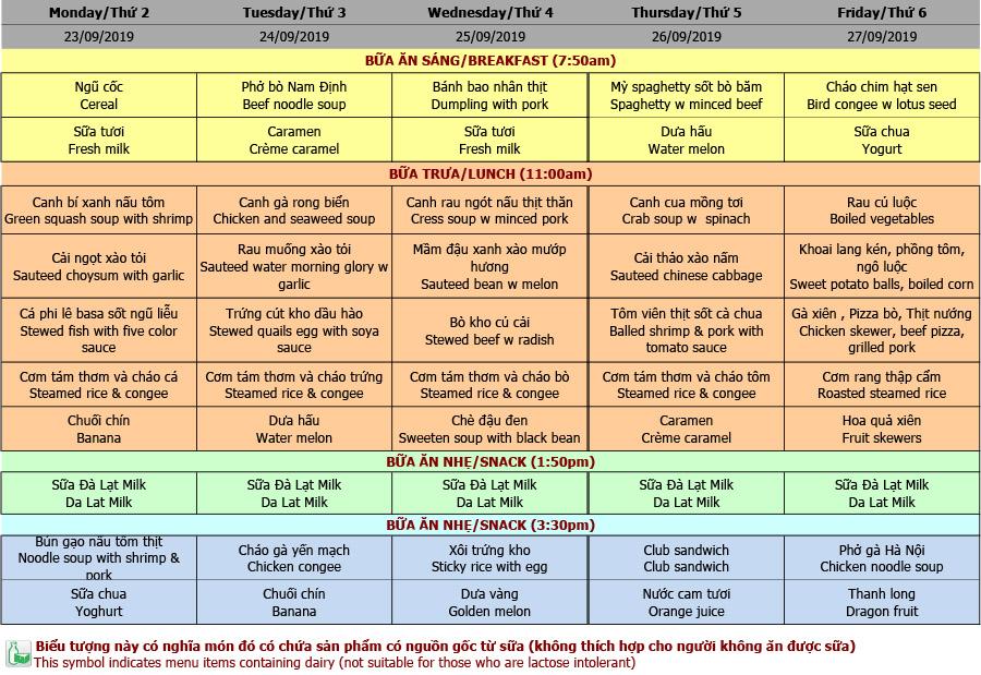 Thực đơn mầm non trường Hanoi Academy Thực đơn tuần 08 (23/09 – 27/09)