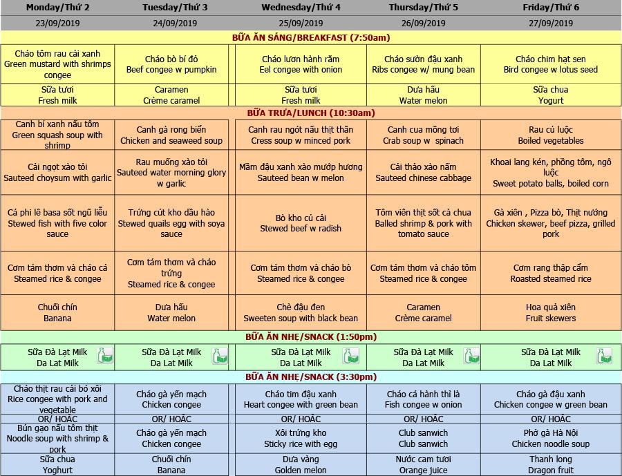 Thực đơn nhà trẻ trường Hanoi Academy Thực đơn tuần 08 (23/09 – 27/09)