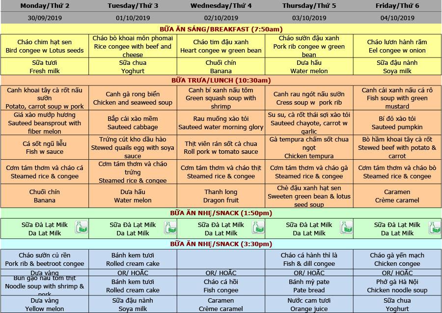 Thực đơn tuần 09 (30/09 – 04/10)
