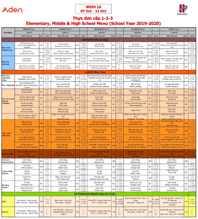 Thực đơn cấp 1-2-3 Hanoi Academy Thực đơn tuần 10 (07/10 – 11/10)