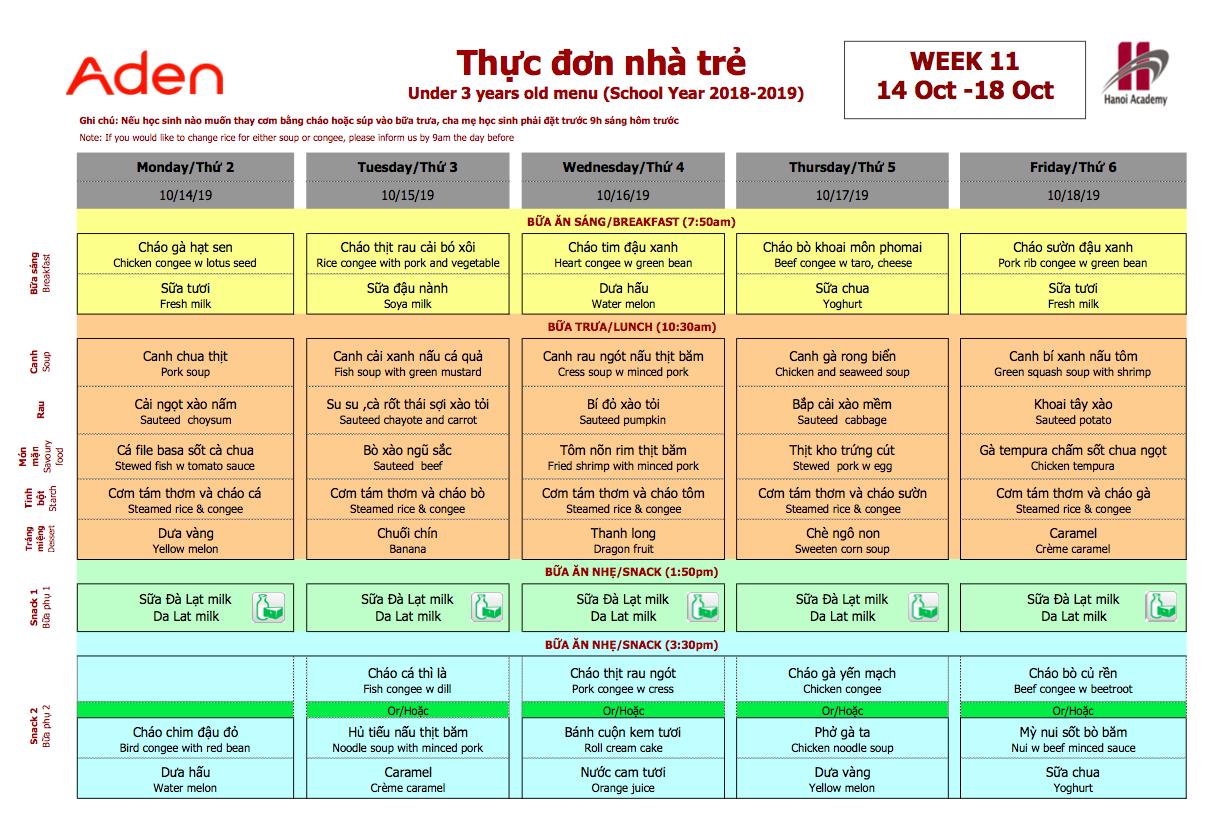 Thực đơn nhà trẻ trường Hanoi Academy Thực đơn tuần 11 (14/10 – 18/10)
