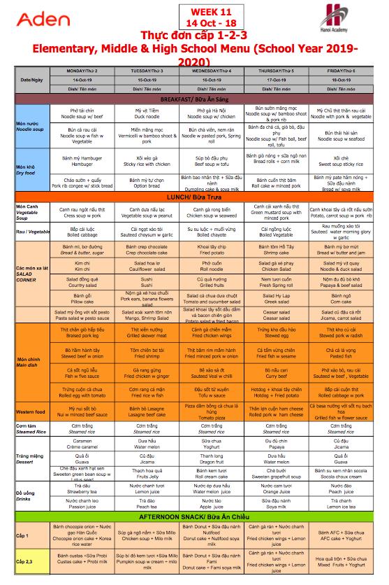 Thực đơn cấp 1-2-3 trường Hanoi Academy Thực đơn tuần 11 (14/10 – 18/10)