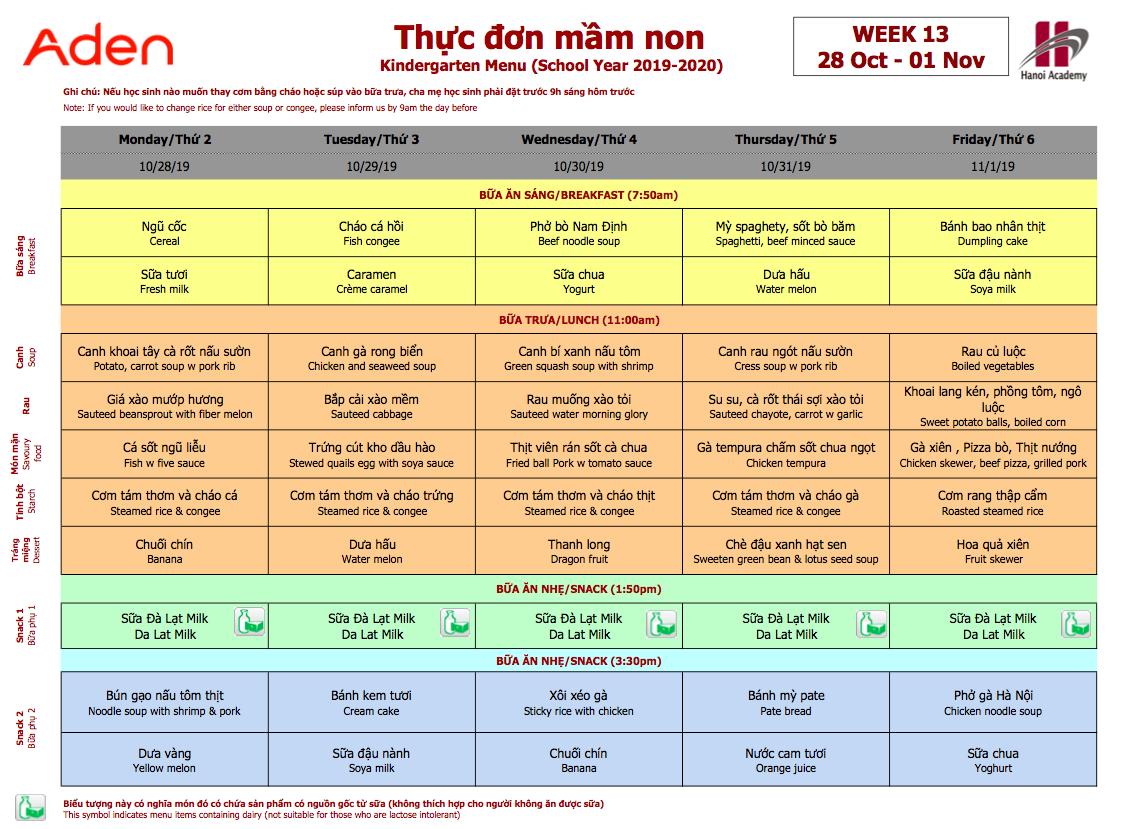 Thực đơn tuần 13 (28/10 – 01/11)