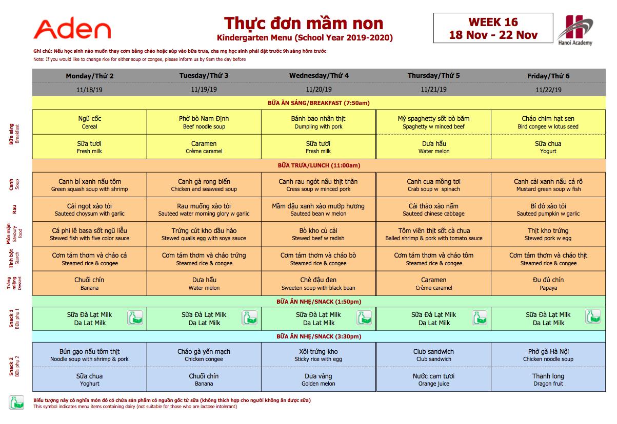 Thực đơn mầm non Hanoi Academy Thực đơn tuần 16 (18/11 – 22/11)