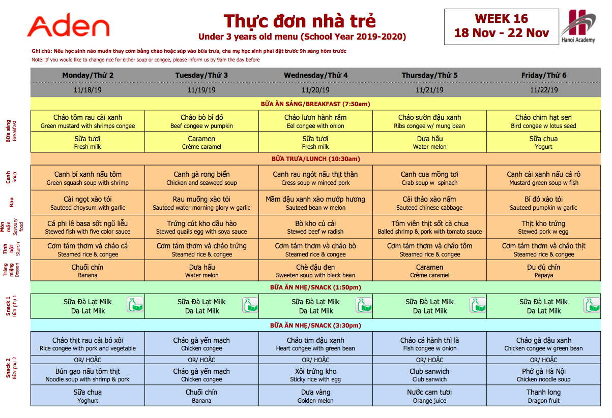 Thực đơn tuần 16 (18/11 – 22/11)