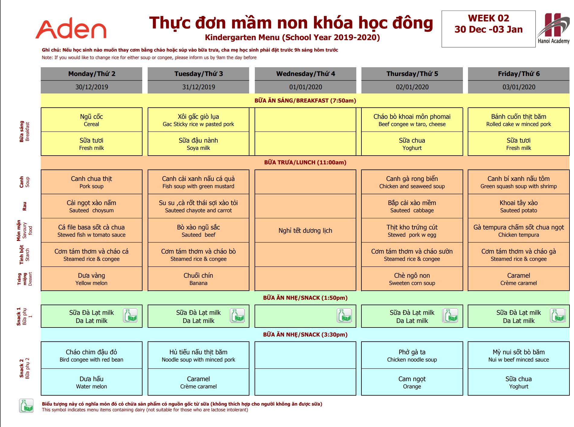 Thực đơn mầm non Hanoi Academy khóa hoạc đông Thực đơn trại đông (30/12 – 03/01) trường Hanoi Academy