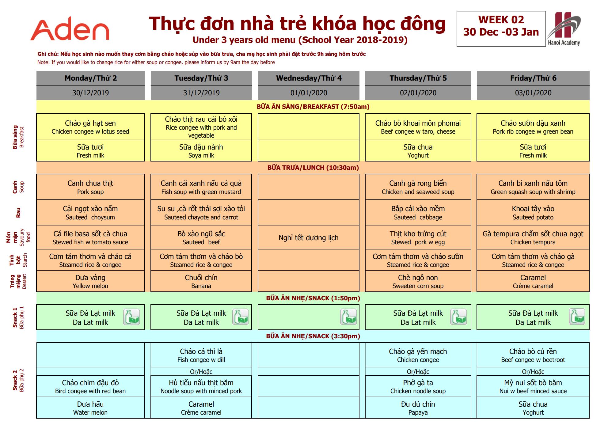 Thực đơn nhà trẻ Hanoi Academy khóa học đông Thực đơn trại đông (30/12 – 03/01) trường Hanoi Academy