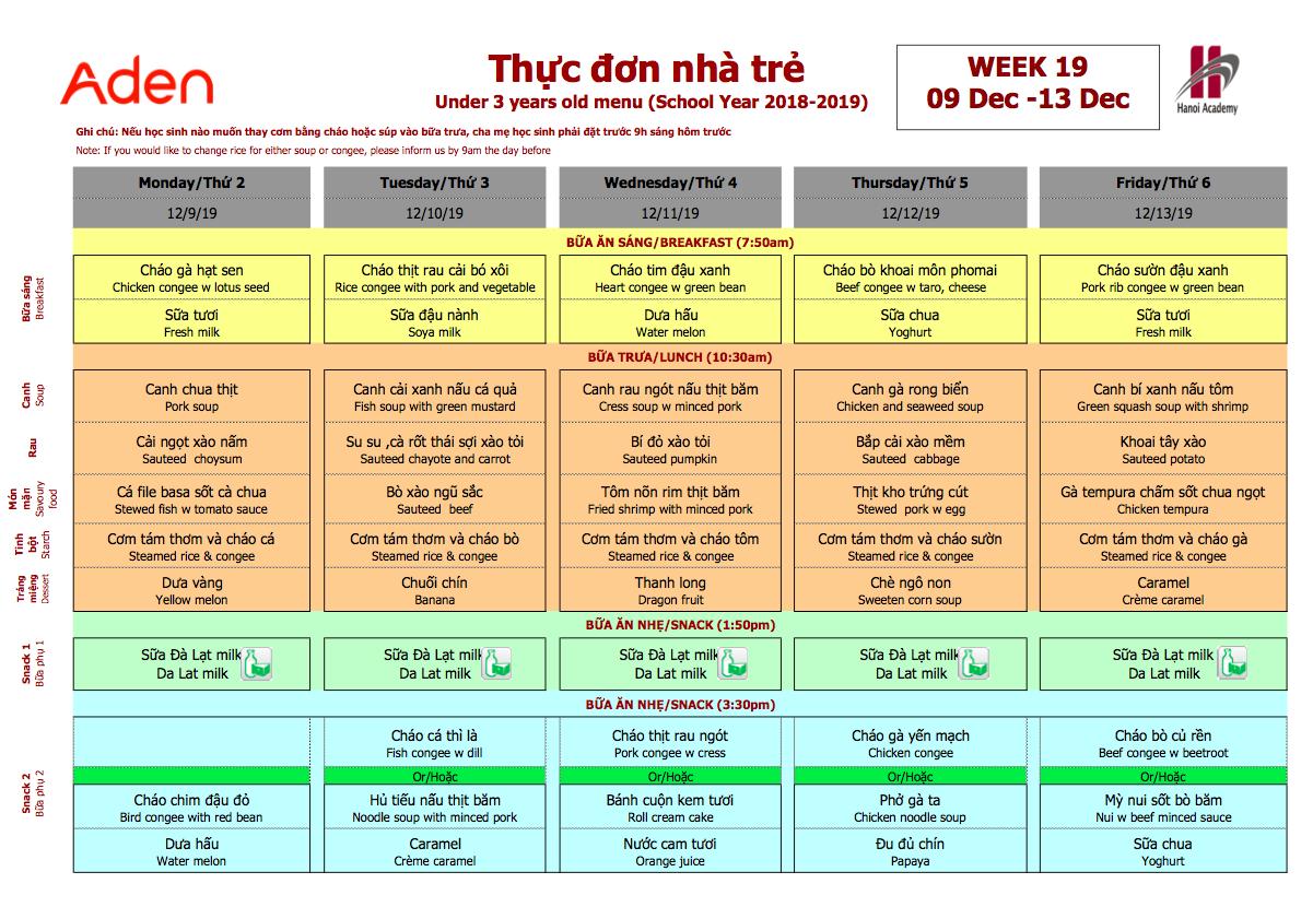 Thực đơn nhà trẻ trường Hanoi Academy Thực đơn tuần 19 (09/12 – 13/12) trường Hanoi Academy