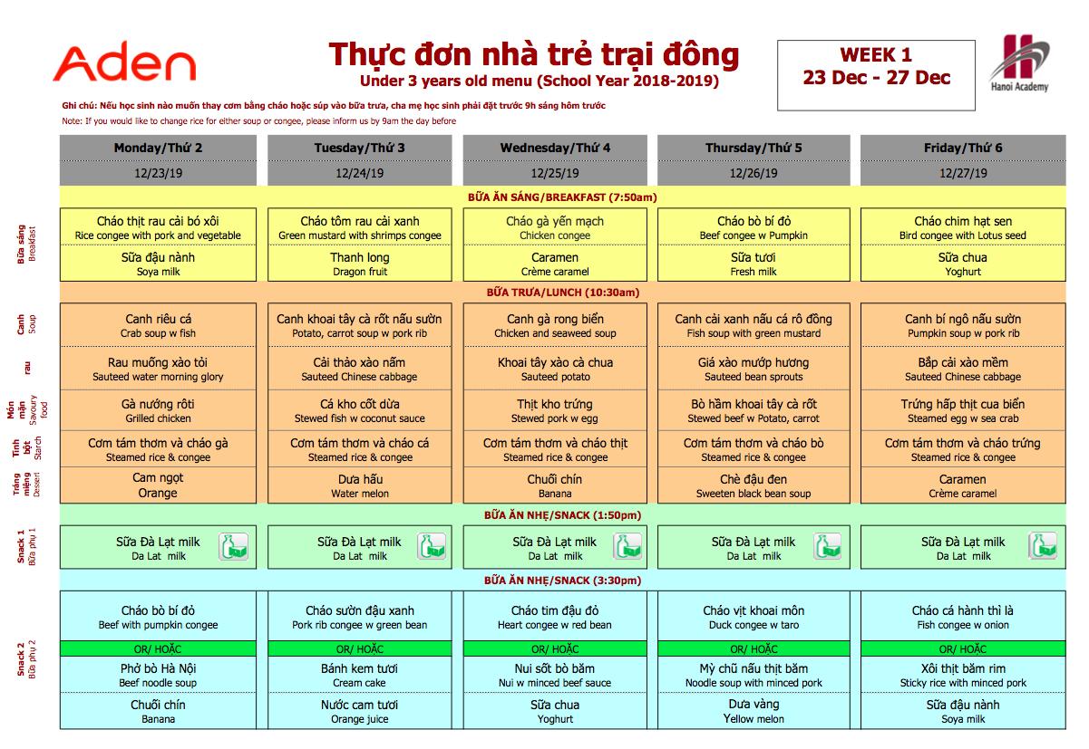 Thực đơn nhà trẻ trại đông trường Hanoi Academy Thực đơn trại đông (23/12 – 27/12) trường Hanoi Academy