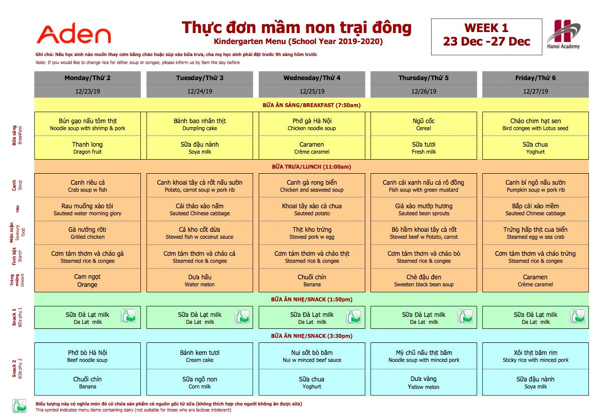 Thực đơn mầm non trại đông trường Hanoi Academy Thực đơn trại đông (23/12 – 27/12) trường Hanoi Academy