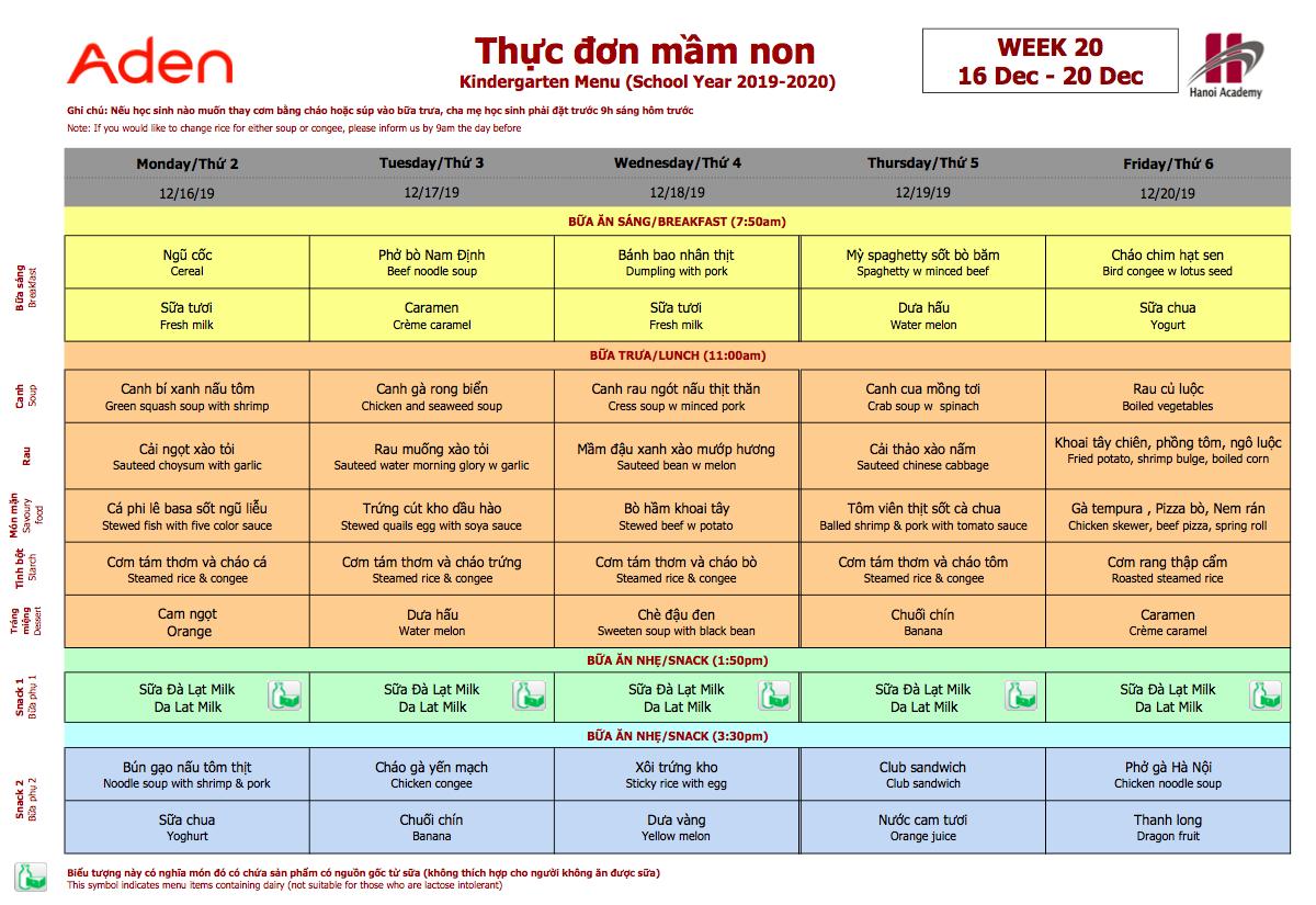 Thực đơn nhà mầm non Hanoi Academy Thực đơn tuần 20 (16/12 – 20/12) trường Hanoi Academy