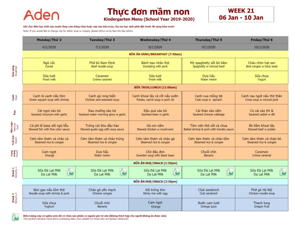 Thực đơn tuần 22 (13/01 – 17/01)