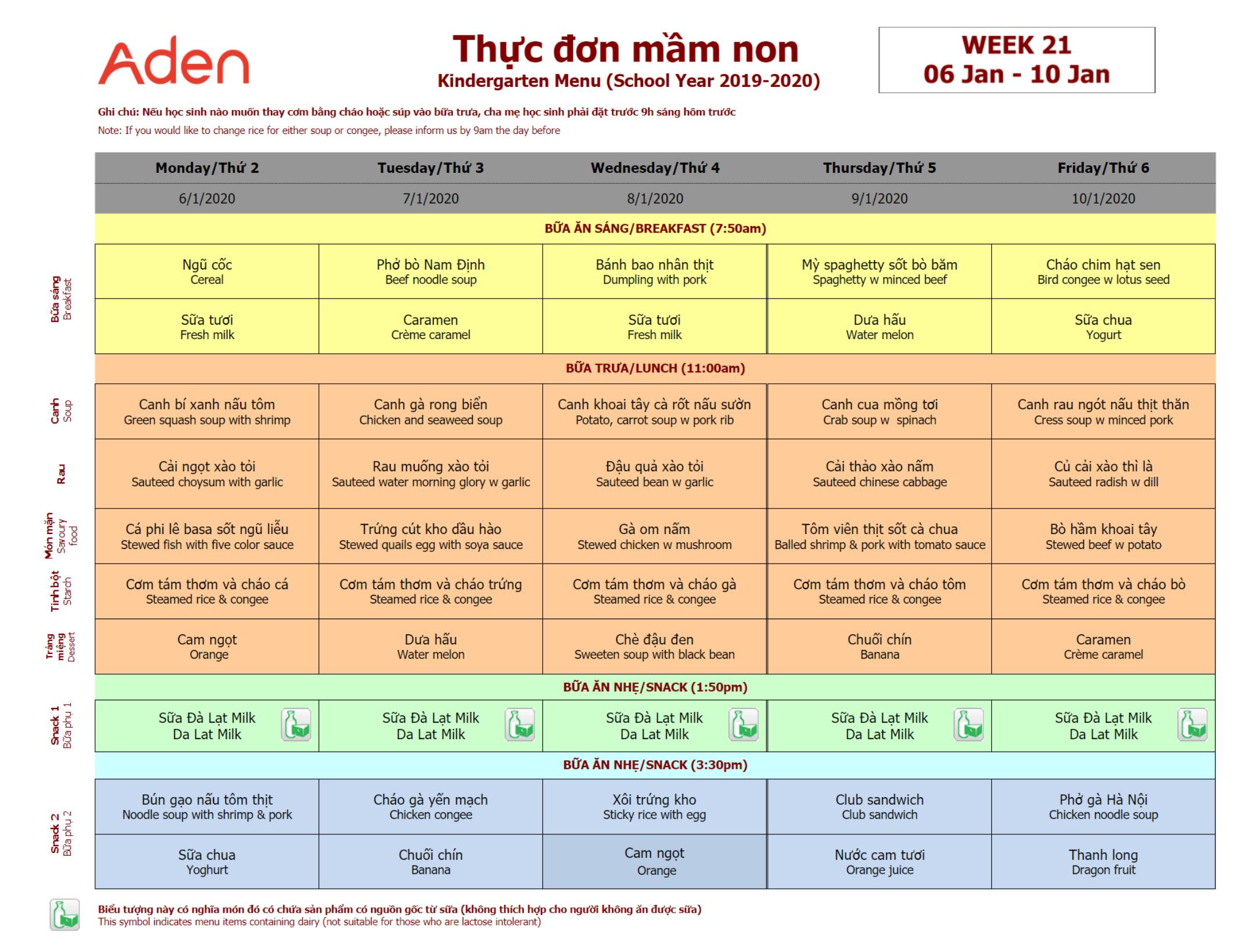 Thực đơn mầm non trường Hanoi Academy Thực đơn tuần 21 (06/01 – 10/01)