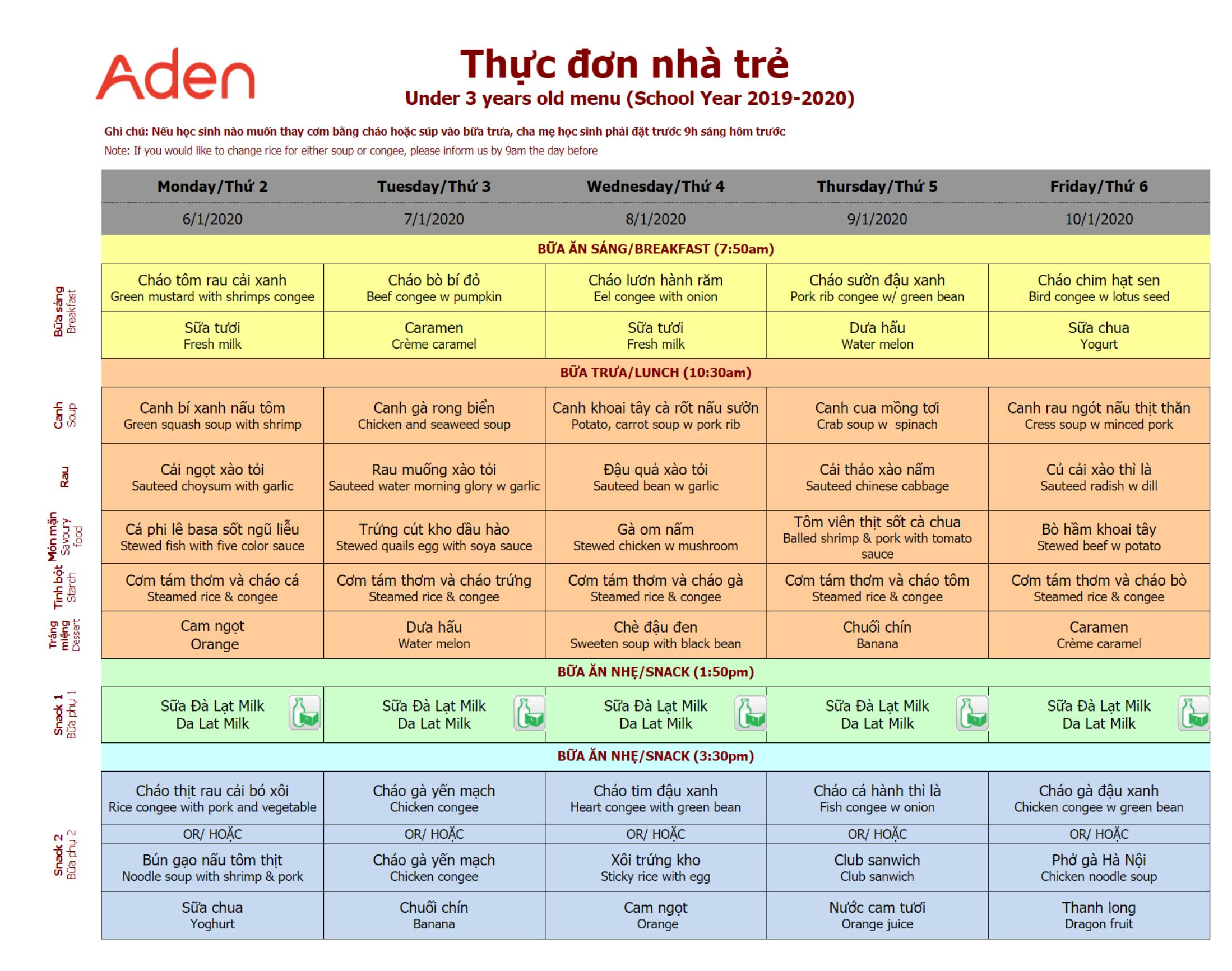 Thực đơn nhà trẻ trường Hanoi Academy Thực đơn tuần 21 (06/01 – 10/01)