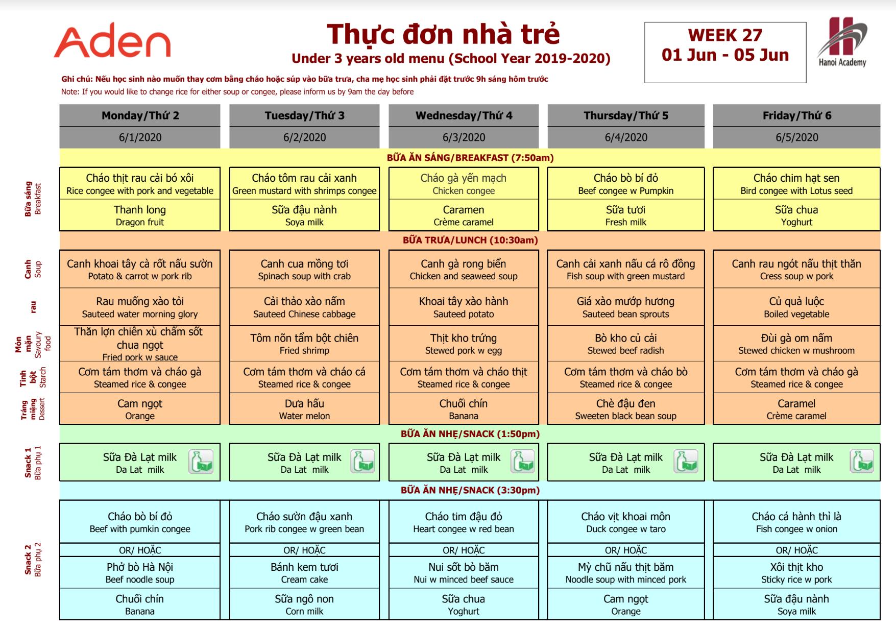 Thực đơn tuần 27 (01/06 – 05/06) Hanoi Academy