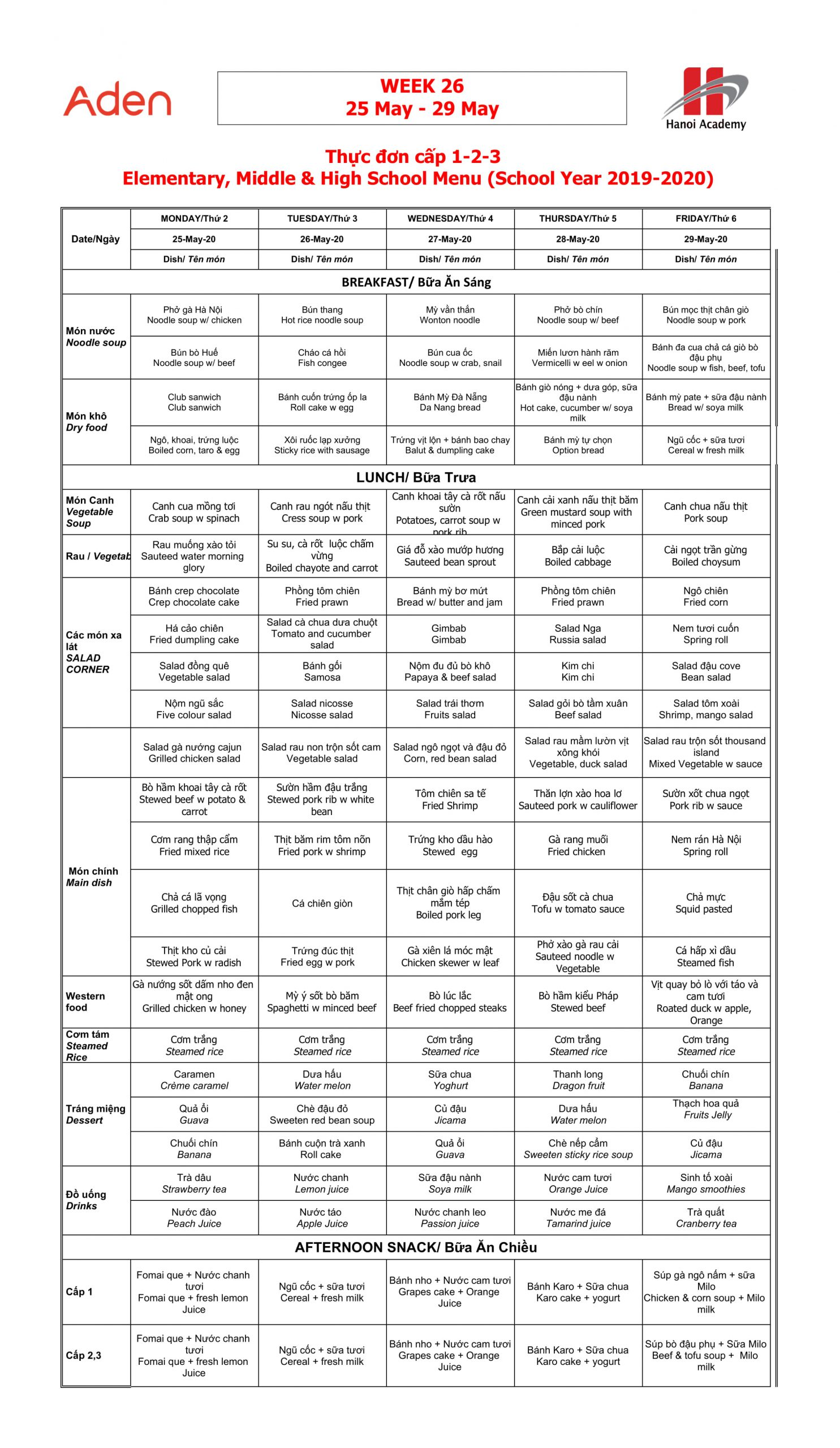 Thực đơn tuần 26 (25/05 – 29/05)