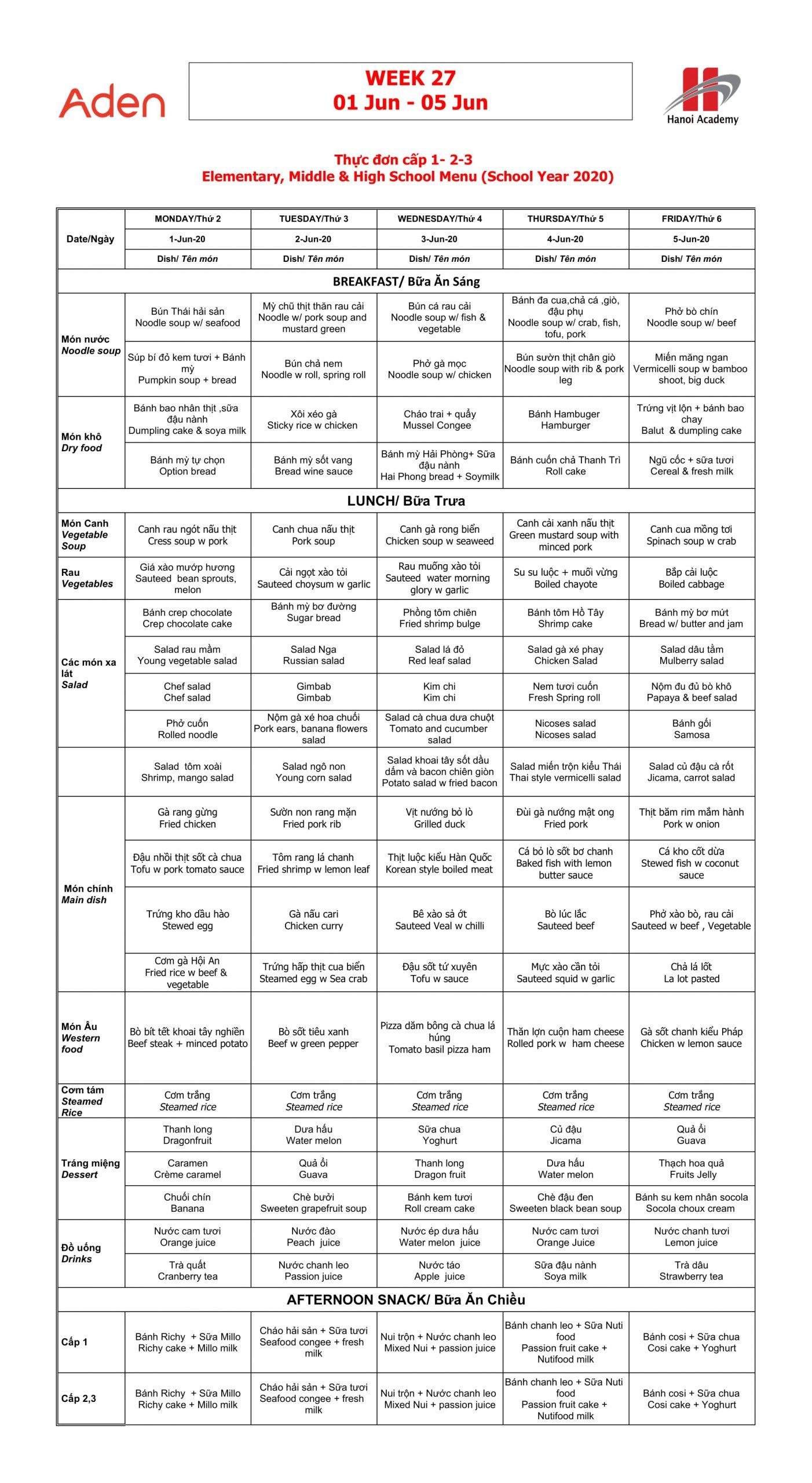 Thực đơn Hanoi Academy Thực đơn tuần 27 (01/06 – 05/06) Hanoi Academy