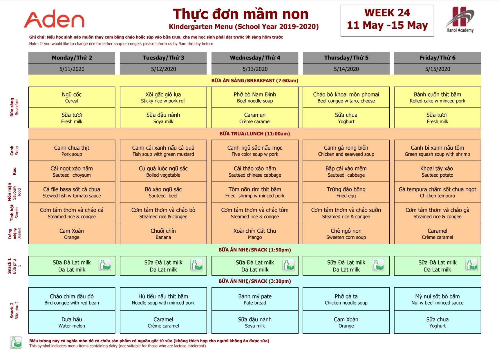 Thực đơn mầm non trường Hanoi Academy Thực đơn tuần 24 (11/05 -15/05) trường Hanoi Academy