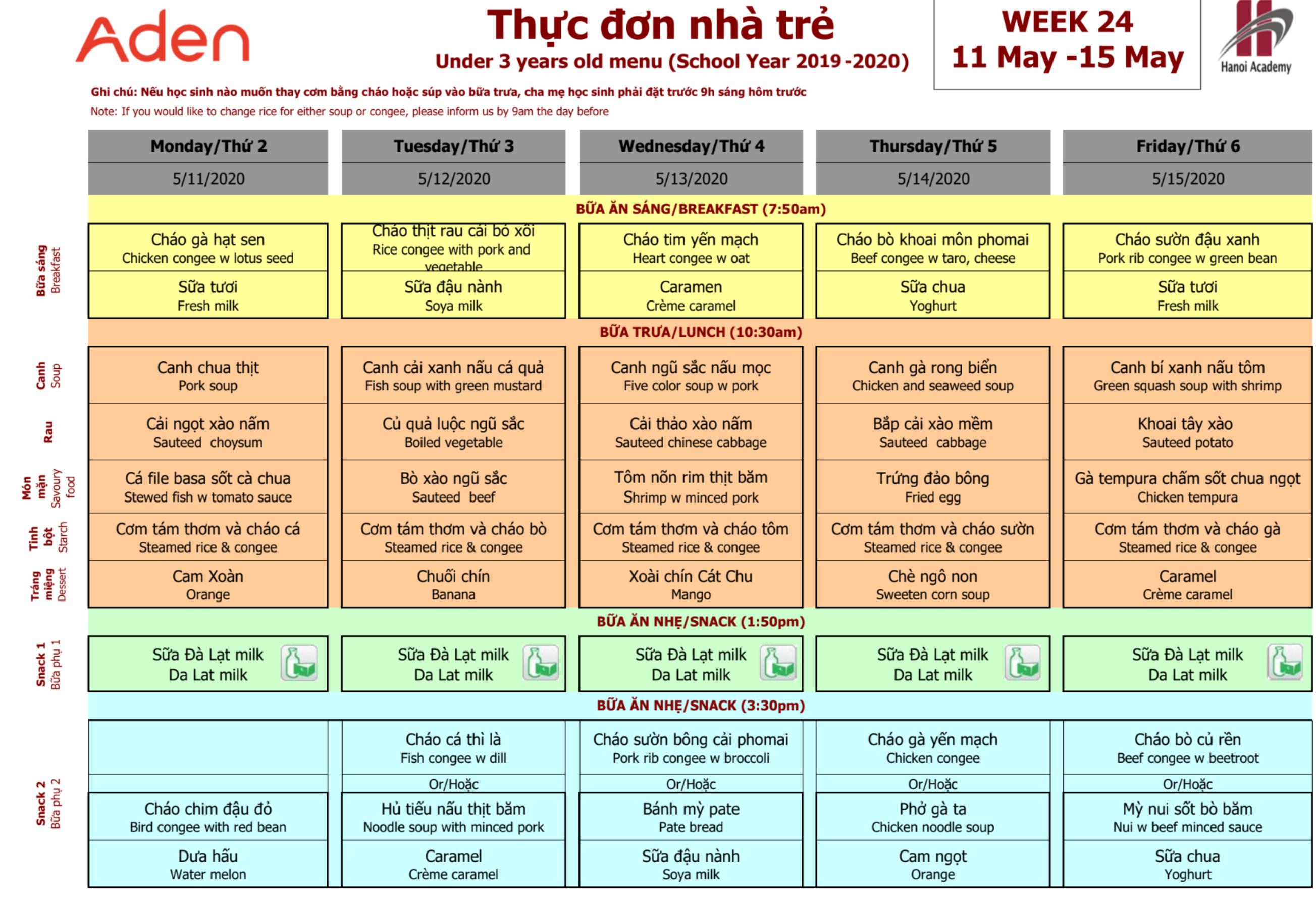 Thực đơn nhà trẻ của Hanoi Academy Thực đơn tuần 24 (11/05 -15/05) trường Hanoi Academy