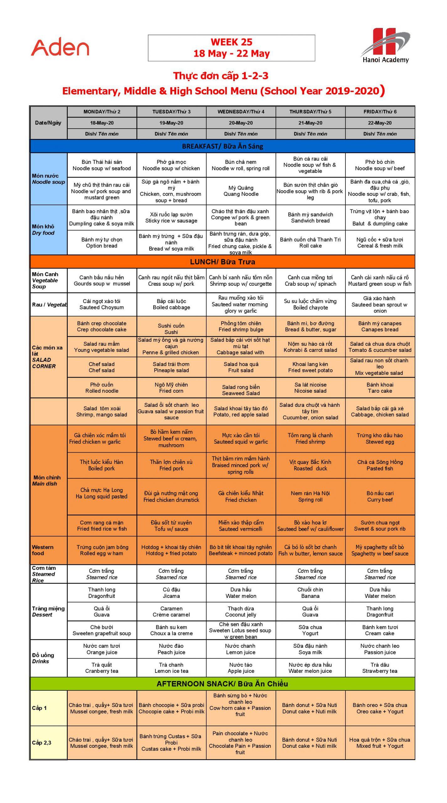 Thực đơn tuần 25 (18/05 – 22/05)
