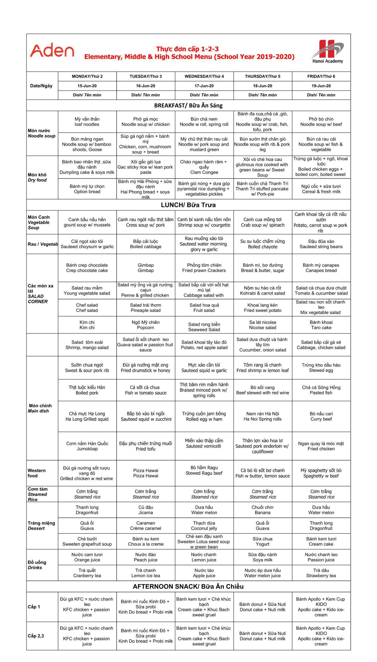 Thực đơn tuần 29 (15/06 – 19/06)