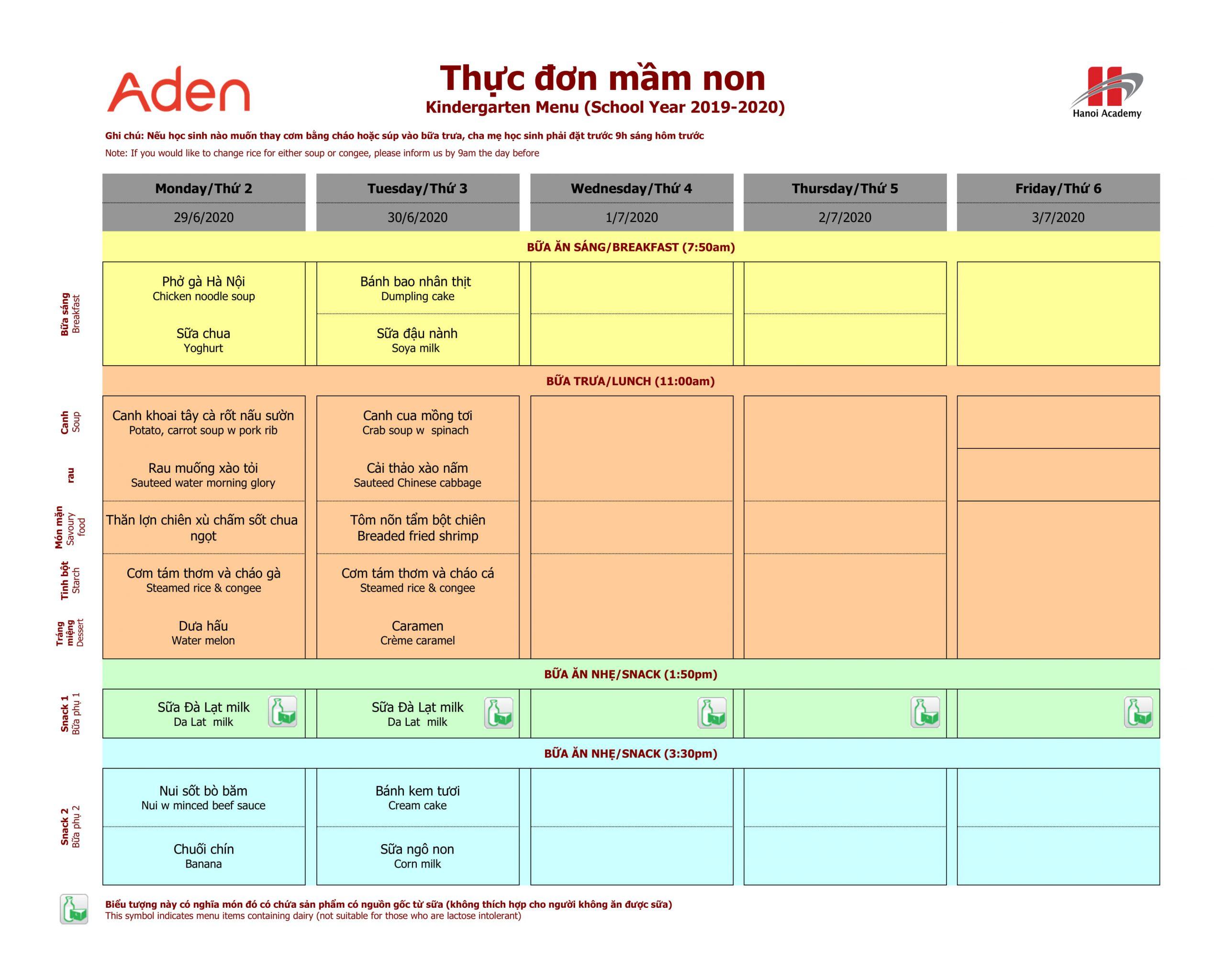 thực đơn mầm non  Thực đơn tuần 31 (29/06 – 30/06) của trường Hanoi Academy
