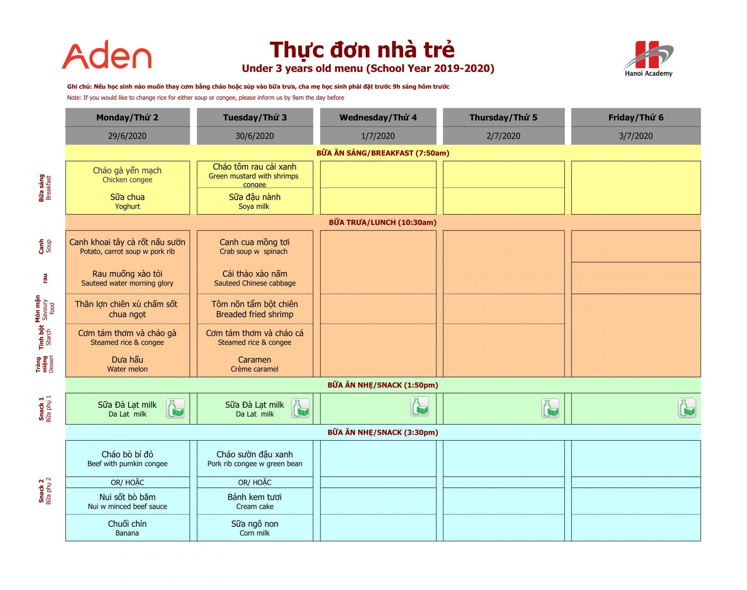 thực đơn nhà trẻ Thực đơn tuần 31 (29/06 – 30/06) của trường Hanoi Academy