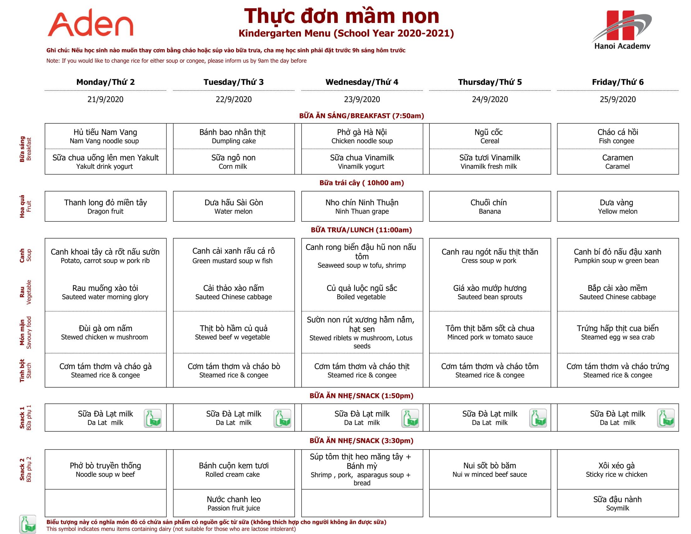 Thực đơn tuần 4 (21/09 – 25/09) năm học 2020-2021