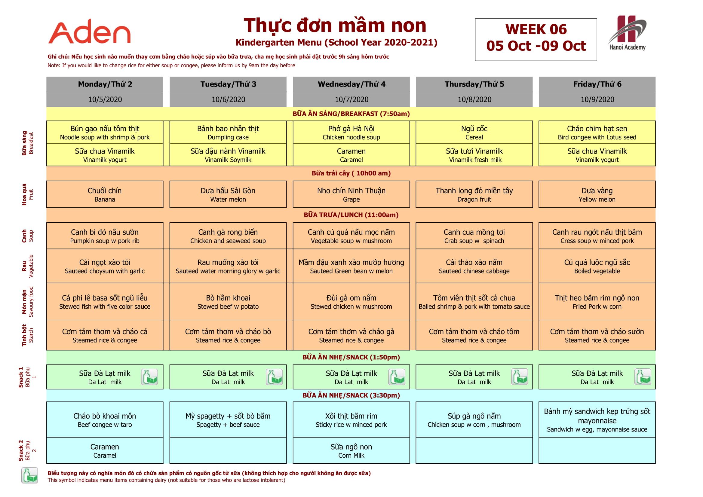 Thực đơn tuần 6 (05/10 – 09/10) năm học 2020-2021