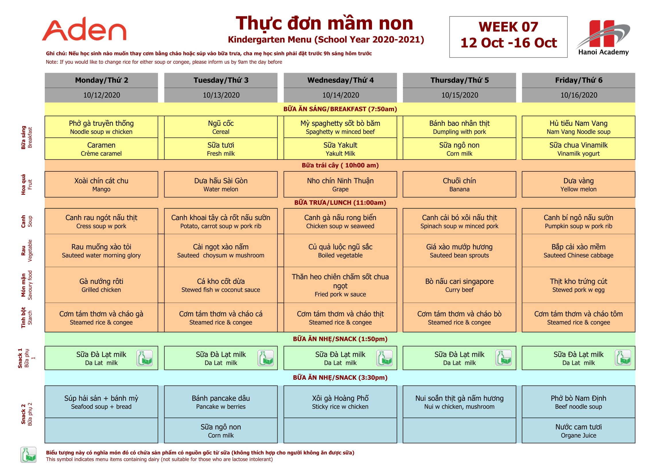Thực đơn tuần 7 (12/10 – 16/10) năm học 2020-2021