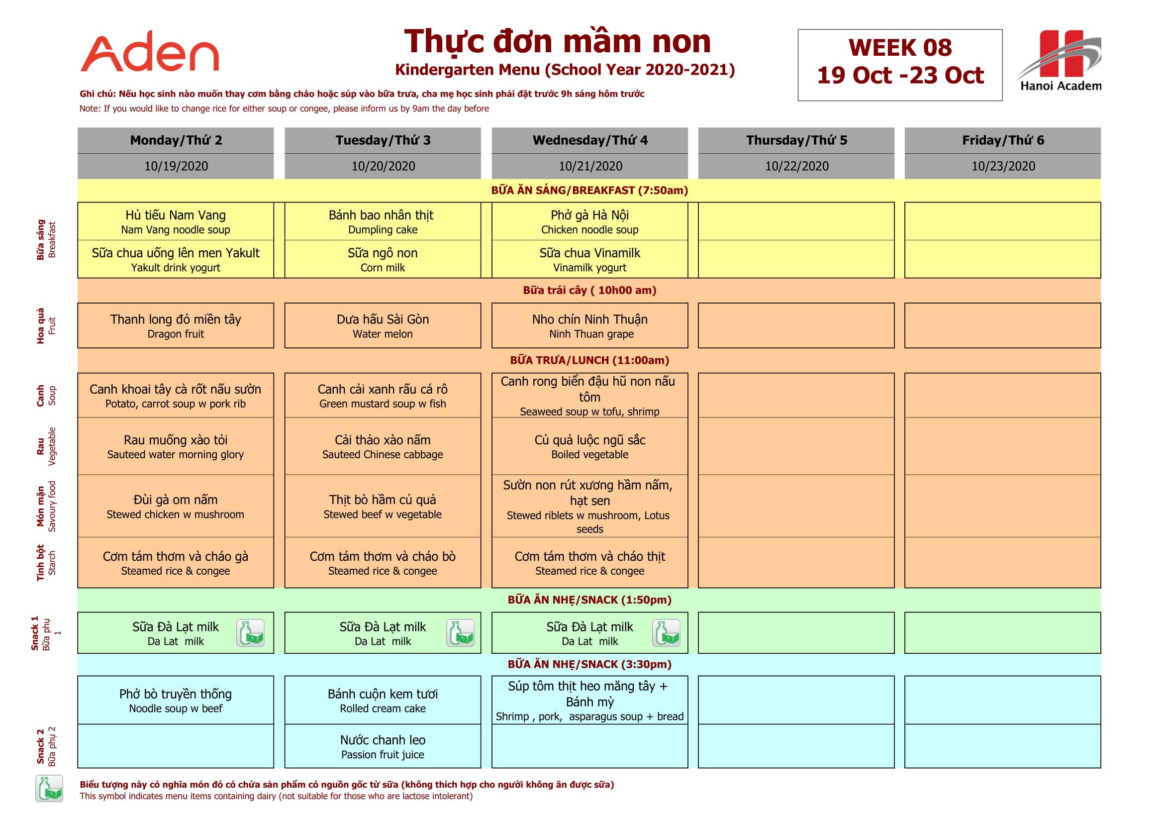 Thực đơn tuần 8 (19/10 – 23/10) năm học 2020-2021