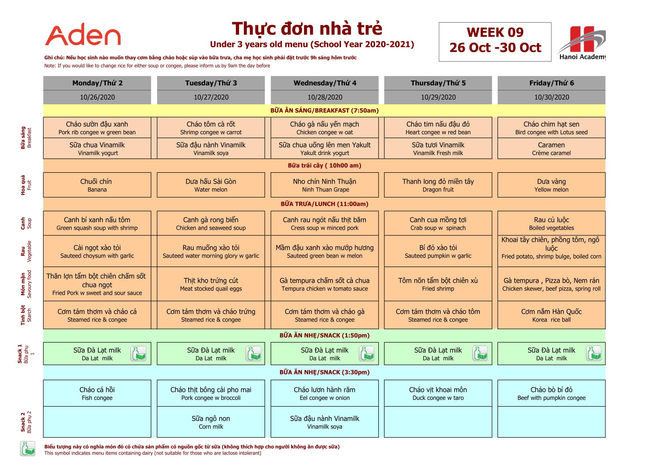 Thực đơn tuần 9 (26/10 – 30/10) năm học 2020-2021