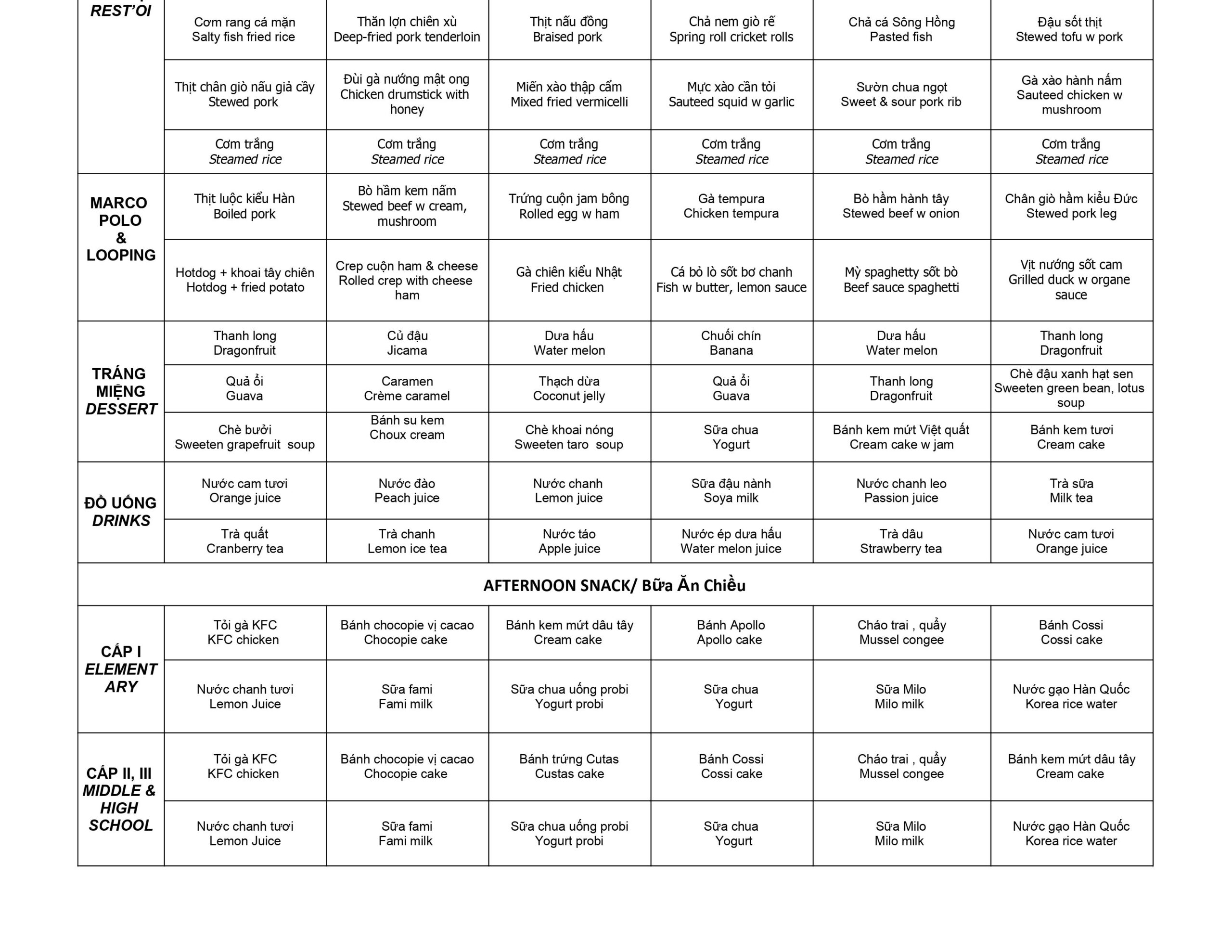 Thực đơn tuần 11 (09/11 – 14/11) năm học 2020-2021