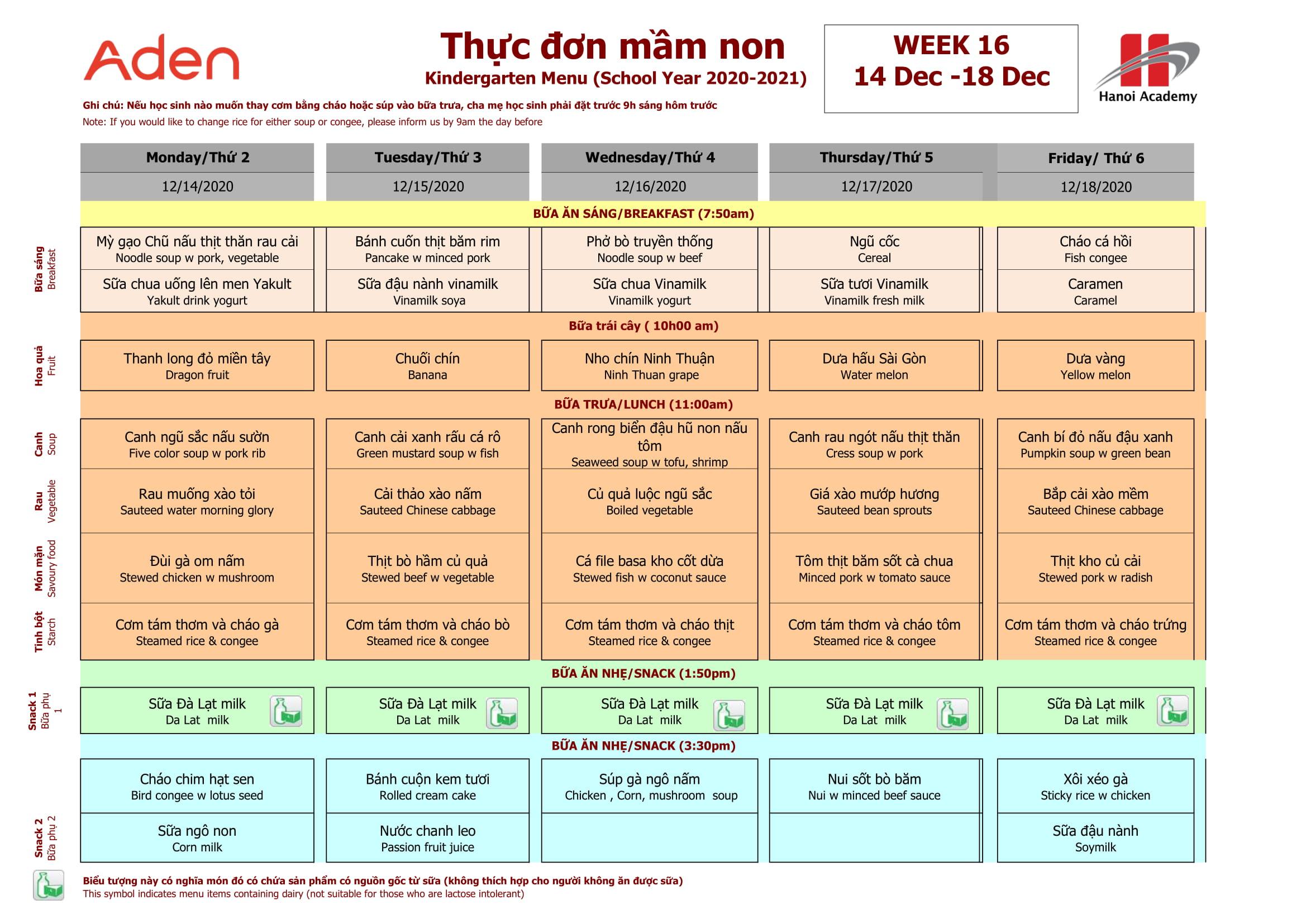 Thực đơn tuần 16 (14.12-19.12) năm học 2020-2021
