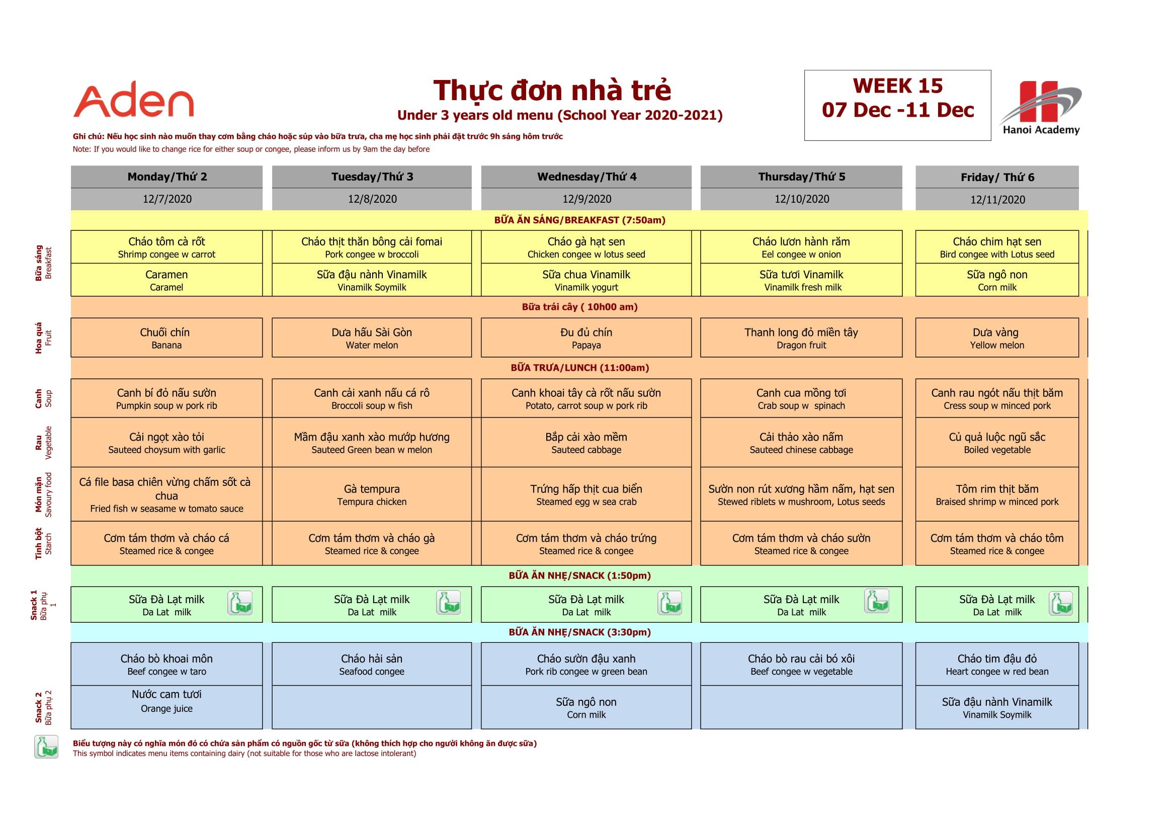 Thực đơn tuần 15 (07.12-12.12) năm học 2020-2021